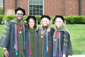 Officers of the Alumni Association:Left to Right - Jelil Tagoe - Treasurer, Kelsy Panella - Secretary, Sarah Elswick - President and Amber Adams - Vice President